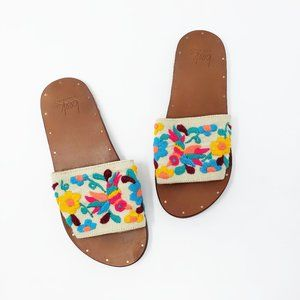 New Beek Floral Embroidered Lovebird Flat Sandals